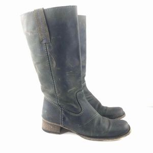 Bed Stu 7.5 Gray Leather Tall Riding Boots Rustic